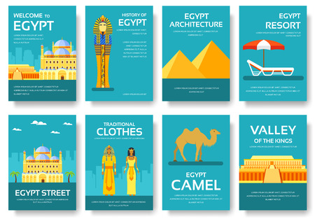 travel features: Country Egypt travel vacation guide of goods, places and features. Set of architecture, fashion, people, items, nature background concept. Infographic template for web and mobile on flat style