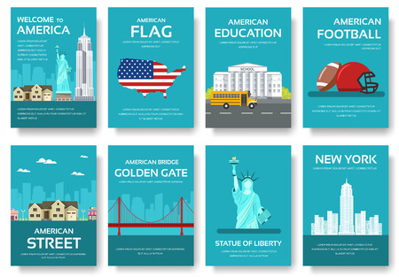 travel features: Country USA travel vacation guide of goods, places and features. Set of architecture, fashion, people, items, nature background concept. Infographic template for web and mobile on flat style