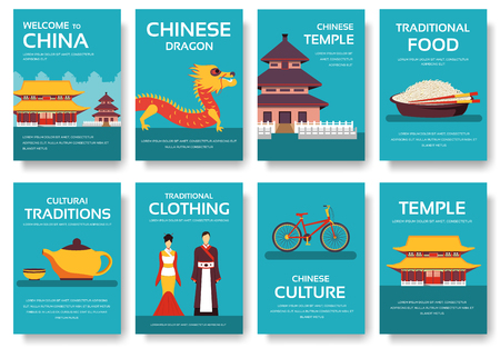 travel features: Country China travel vacation guide of goods, places and features. Set of architecture, fashion, people, items, nature background concept. Infographic template for web and mobile on flat style