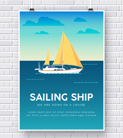 yacht: Yacht on water illustration on brick wall background concept design