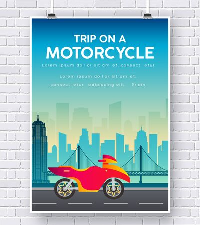 brick road: Motorcycle on a road illustration on brick wall background concept Illustration