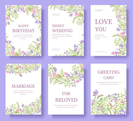 invitation cards: Set of flower invitation cards or banner brochure illustration design concept Illustration