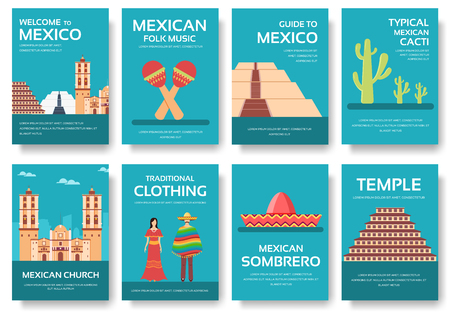 fiesta popular: Country Mexico travel vacation guide of goods, places and features. Set of architecture, fashion, people, items, nature background concept.  Infographic template for web and mobile on flat style
