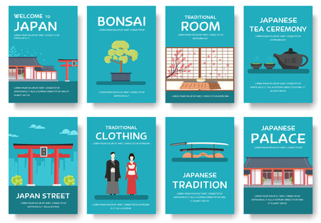 travel features: Country Japan travel vacation guide of goods, places and features. Set of architecture, fashion, people, items, nature background concept.  Infographic template for web and mobile on flat style
