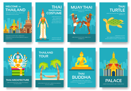 wat arun: Country Thailand travel vacation guide of goods, places and features. Set of architecture, fashion, people, items, nature background concept.  Infographic template for web and mobile on flat style Illustration