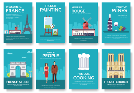 travel features: Country France travel vacation guide of goods, places and features. Set of architecture, fashion, people, items, nature background concept. Infographic template for web and mobile on flat style