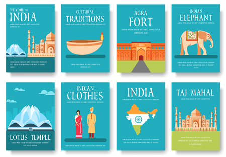 Country India travel vacation guide of goods, places and features. Set of architecture, fashion, people, items, nature background concept.  Infographic template for web and mobile on flat style Illustration