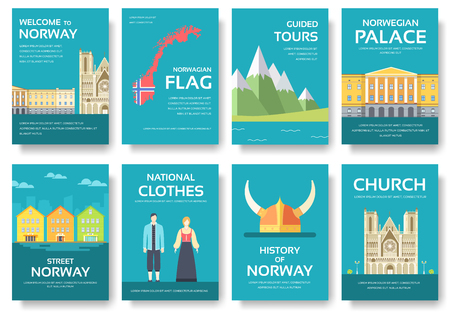 travel features: Country Norway travel vacation guide of goods, places and features. Set of architecture, fashion, people, items, nature background concept.  Infographic template for web and mobile on flat style Illustration