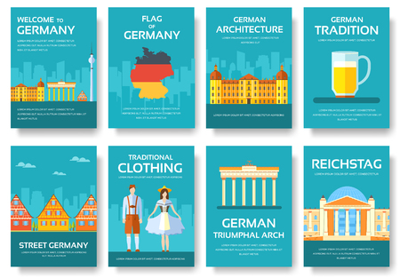 travel features: Country Germany travel vacation guide of goods, places and features. Set of architecture, fashion, people, items, nature background concept. Infographic template for web and mobile on flat style