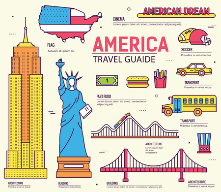 national: Country USA travel vacation guide of goods, places and features. Set of architecture, foods, sport, items, nature background concept. Infographics template design for web and mobile. On thin lines Illustration