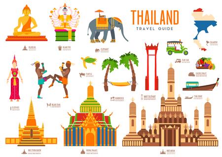 国タイ旅行の休暇は、モノ、場所、機能のガイド。建築、ファッション、人々、アイテム、自然背景概念のセットです。インフォ グラフィック伝統  イラスト・ベクター素材