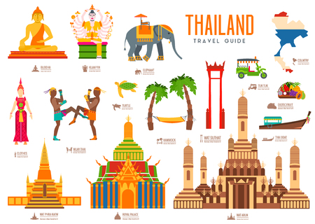 wat arun: Country thailand travel vacation guide of goods, places and features. Set of architecture, fashion, people, items, nature background concept. Infographic traditional ethnic flat icon template design Illustration