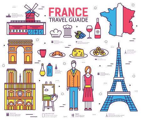 famous people: Country France trip guide of goods, places in thin lines style design. Set of architecture, fashion, people, nature background concept. Infographic template design for web and mobile on vector flat