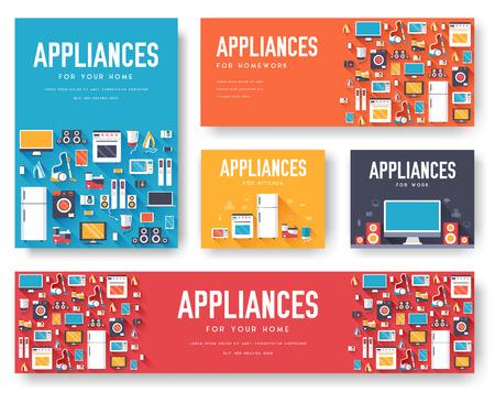 家電カードを設定します。電子機器の flyear、雑誌、ポスター、ブックカバー、バナーのテンプレート。デバイスのインフォ グラフィックの概念の背