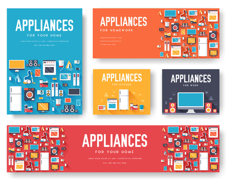 Home appliances cards set. Electronics template of flyear, magazines, posters, book cover, banners. Devices infographic concept background. Layout illustrations template pages with typography text Ilustração