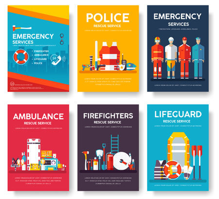 first job: Firefighter, rafting, police, medicine rescue cards template set. Flat design icon of flyear, magazines, posters, book cover, banner. Emergency services layout concept pages with typography background Illustration