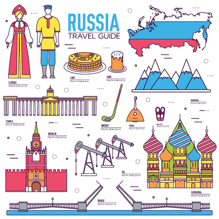 travel features: Country Russia travel vacation guide of goods, places and features. Set of architecture, people, culture, icons background concept. Infographics template design for web and mobile. On thin lines style