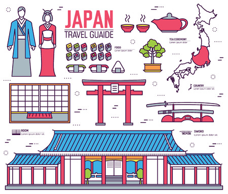 yards: Country Japan trip of goods, places and features in thin lines style design. Set of architecture, fashion, people, items, nature background concept. Infographic template  for web and mobile on flat