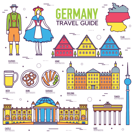 travel features: Country Germany travel vacation guide of goods, places and features. Set of architecture, people, culture, icon background concept. Infographics template design for web and mobile. On thin lines style