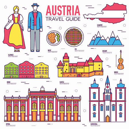 travel features: Country Austria travel vacation guide of goods, places and features. Set of architecture, people, culture, icon background concept. Infographics template design for web and mobile. On thin lines style Illustration
