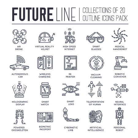 automotive industry: Premium quality future flat collection design set. Tomorrow minimalistic symbol pack. Modern technology template of icons, typography, logo, pictogram and illustrations concept background