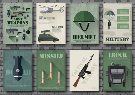 special forces: Cards of military equipment cards. Army template of flyear, Magazines, posters, book concept. Special forces items on grunge background. Layout illustrations pages with typography text