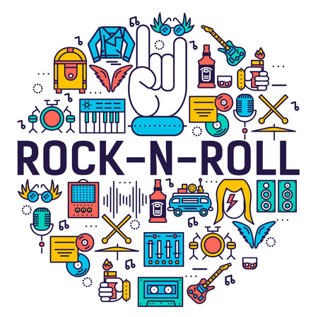 ROCK N ROLL circle outline icons collection set.  Music equipment linear symbol pack. Modern template of thin line icons, logo, symbols, pictogram and flat illustrations concept.