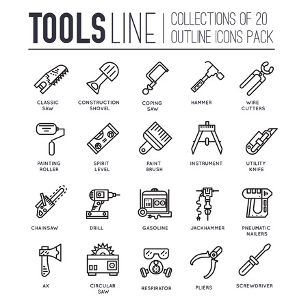 coping: Collection of working tools icons items design. Construction instruments with any elements set. Diy, building, work outline illustrations vector background. Process image on thin line style concept