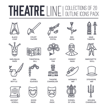 dueling pistol: Collection of theater icons items design. Performance Interior with any elements set. Entertainment drama, tragedy or comedy illustrations vector background Illustration