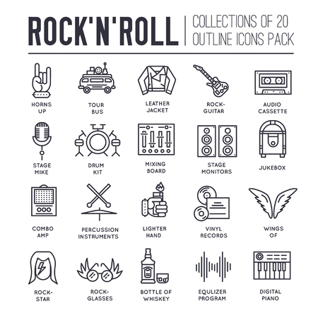 amp: ROCK N ROLL circle outline icons collection set.  Music equipment linear symbol pack. Modern template of thin line icons, logo, symbols, pictogram and flat illustrations