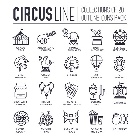 manege: Premium quality circus outline icons collection set.  Festival linear symbol pack. Modern show template of thin line icons, logo, symbols, pictogram and flat illustrations concept