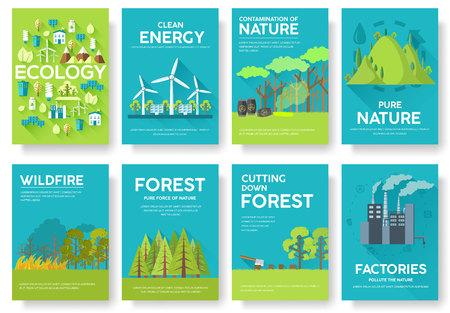 Set di carte di informazione ecologia. Modello ecologico di flyear, riviste, poster, copertina di libri, banner. Eco concetto di fondo infografica. Layout illustrazioni moderne pagine con testo tipografia
