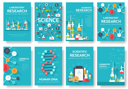 Science information cards set. laboratory template of flyear, magazines, posters, book cover, banners. Chemistry infographic concept background. Layout illustrations template pages with typography