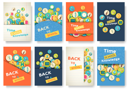 exam: Back to school information pages set. Education template of flyear, magazines, posters, book cover, banner. Exam infographic concept background. Layout illustration template pages with typography text