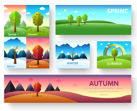 in bloom: Weather seasons icons on nature ecology background.  Vector flat design concept