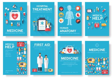 医学情報カードを設定します。Flyear、雑誌、ポスター、書籍表紙の医療テンプレート。青の背景に臨床インフォ グラフィックのコンセプトです。タ