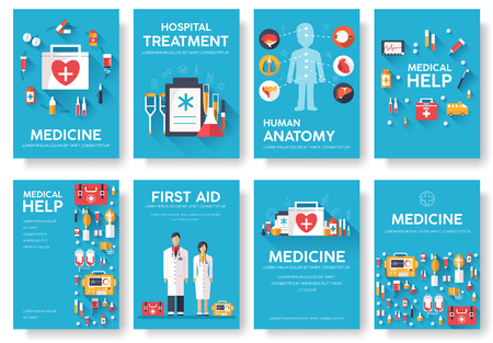 Medicine information cards set. Medical template of flyear, magazines, posters, book cover. Clinical infographic concept on blue background. Layout illustrations template pages with typography text Иллюстрация