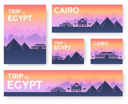 Egypt landscape vector banners set. Vector design illustration concept