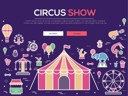 Premium-Qualität Zirkus Kontur Ikonen-Sammlung gesetzt. Festival linear Symbol Pack. Moderne zeigen Vorlage von dünnen Linie Icons, das Logo, Symbole, Piktogramme und flach Illustrationen Konzept