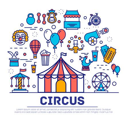 Premium-Qualität Zirkus Kontur Ikonen-Sammlung gesetzt. Festival linear Symbol Pack. Moderne zeigen Vorlage von dünnen Linie Icons, das Logo, Symbole, Piktogramme und flach Abbildungen Logo