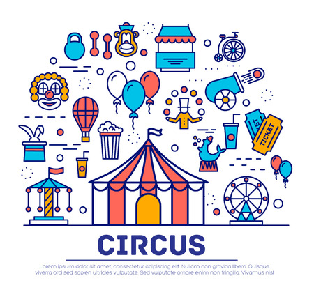 manege: Premium quality circus outline icons collection set.  Festival linear symbol pack. Modern show template of thin line icons, logo, symbols, pictogram and flat illustrations Illustration