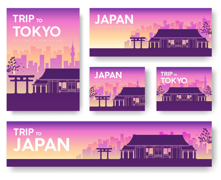 morning rituals: Japan landscape vector banners set. Vector design illustration concept Illustration