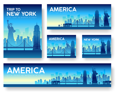 dawning: USA landscape vector banners set. Vector design illustration concept