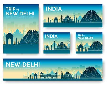 morning rituals: India landscape vector banners set. Vector design illustration concept