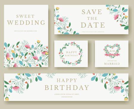 Set Blumeneinladungskarten. bunte Einladungskarte Gruß Hochzeit Illustration festgelegt. Hochzeit Vektor-Design-Konzept Sammlung