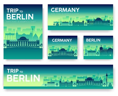 Germany landscape vector banners set. Vector design illustration concept