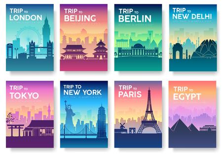 タイポグラフィの世界パンフレットの旅行を設定します。イギリス国のアイコン。イングランドの国。インド国。ドイツ国。中国国。日本国。アメ