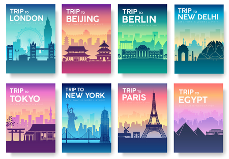 Travel of the world brochure with typography set. England country icon. England country. India country. Germany country. China country. Japan country. Usa country. France country. City landscape