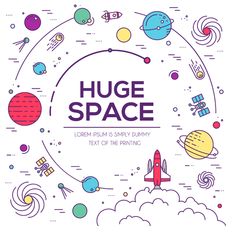 Set of huge space universe illustration. Space infographic. Space icon. Space thin lines background. Space flat elements. Space label. Space concept design. Outer space rocket flying into solar system Vectores