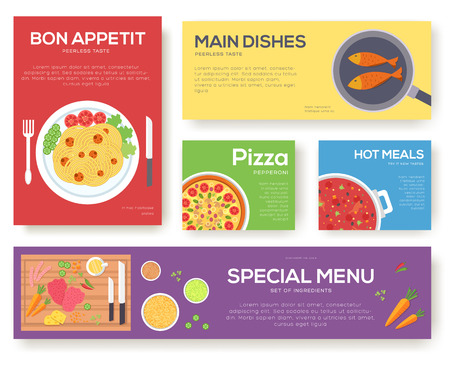 borscht: Cooking set cards with menu vector background. Cooking menu banner design concept